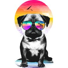 Summer Pug V. II is a T Shirt designed by clingcling to illustrate your life and is available at Design By Humans