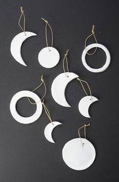 Make these modern DIY moon phase clay ornaments | Alice and Lois
