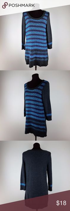 The Limited Women's Sweater Dress Size: Small  Color: Gray Blue  Design: Striped, 3/4 Sleeve, Crew Neck  Material: 40% Viscose 32% Nylon 19% nylon 9% Alpaca  Measurements  {{Measurements are approx/ colors may appear slight different}}  Chest Size: 18 inches  Shoulder to Hem: 32 inches   Waist Width : 36 inches  Hips Laying Flat:  40 inches  Sleeve Length: 20 inches The Limited Dresses Mini