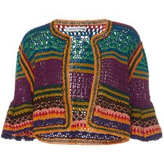 Spencer Vladimir Tulum Bell Crochet Cardigan (€1.425) ❤ liked on Polyvore featuring tops, cardigans, yellow, crochet cardigan, multi color cardigan, multi colored cardigan, half sleeve cardigan and bell sleeve cardigan