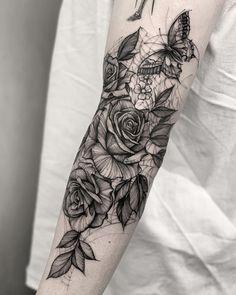 Tattoo flower tattoos, hand tattoos, new tattoos, rose and butterfly tattoo Hand Tattoos, Finger Tattoos, Arm Tattoo, Body Art Tattoos, New Tattoos, Sleeve Tattoos, Female Tattoos, Tatoos, Butterfly With Flowers Tattoo
