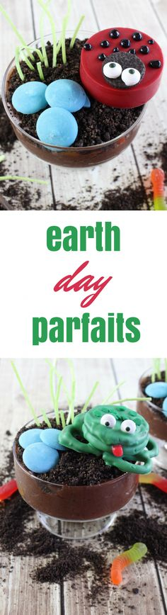 """Ladybug and Frog Earth Day Parfait Recipe - This may sound strange, but Earth Day is one of my favorite holidays. I suppose it's the combination of spring coming and the idea of getting outside, whether that means recycling, planting new flowers, or just enjoying this time of year.  To celebrate Earth Day arriving, I have put together some fun ladybug and frog parfaits that you and your children will """"dig."""""""