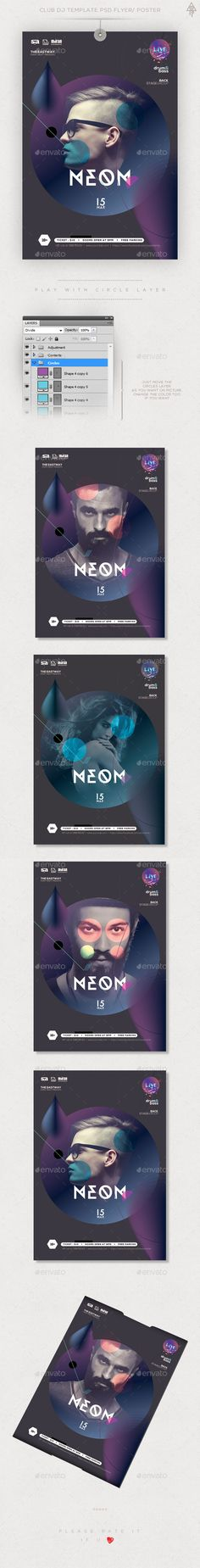 Club Flyer / Poster Template PSD #design Download: http://graphicriver.net/item/club-flyer-poster/14535566?ref=ksioks