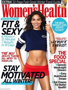 Cover girl: The exotic beauty cut a relaxed and carefree figure in a crop top and red shorts as she graved the cover of Women's Health magazine
