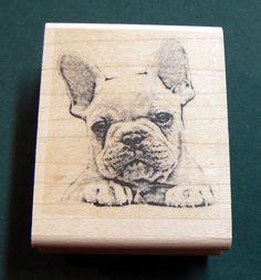 French Bulldog rubber stamp WM by dragonflybuzz on Etsy, $8.50