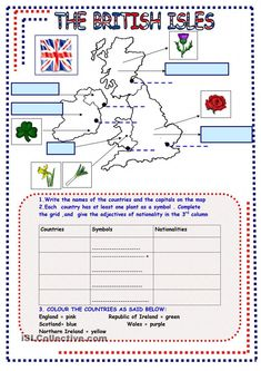 5 Pages of different activities to learn more about the British Isles (map , questions , anagrams , right wrong wordsearch with KEY.) the history of the countries and famous places and people - ESL worksheets English Uk, English Course, English Tips, English Lessons, Learn English, English Study, English Vocabulary, English Grammar, Teaching English