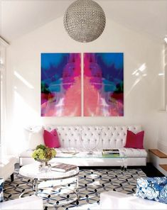 Trick: injecting a white room with color via large scale art