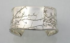 "Etched Sterling Silver ""Branch"" cuff by Sandra Noble Goss"
