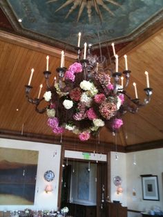 hydrangea in chandelier Aspen Mountain Club