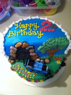 Thomas the Train cake Thomas Birthday Parties, Trains Birthday Party, Train Party, Birthday Cakes, 2nd Birthday, Birthday Ideas, Mini Mouse Cupcakes, Thomas Cakes, Children Cake