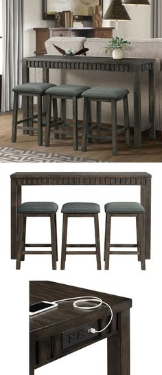 Use this set in your man cave or living room to give you the perfect spot to enjoy food and drinks while you watch the big game or have a movie night with the family. The Shelter Bay Transitional Multipurpose Bar Table Set with USB Port by Elements International at Great American Home Store in the Memphis TN, Southaven MS, area.  #shopgahs #livingroom #mancave #bartableset #gametime #entertainmnet #familyroom