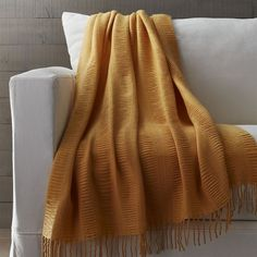 Crate & Barrel Casey Maize Yellow Throw featuring polyvore, home, bed & bath, bedding, blankets, yellow blanket throw, acrylic blanket, yellow blanket, yellow throw blanket and light weight blankets