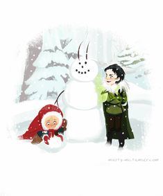 """By marty-mc- """"That's the ugliest snowman I've ever drawn seen, Thor. Luckily, Loki is gonna fix it. Merry Christmas!"""""""