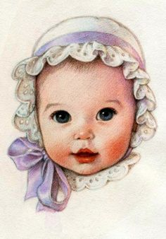 Baby in bonnet with lilac bow