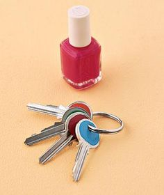 Nail Polish as Key Coder: Differentiate your keys by color-coding them with your favorite nail hues. Lay keys flat and apply a thick coat of a different shade to the top of each one.