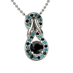 The Forget Me Knot Pendant #customizable #jewelry #blackdiamond #bluetopaz #silver #necklace
