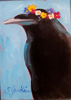 Rita Crow and Helen Crow attended the party too! Rita is so much more understated in her Spring floral wreath. 4 And 20 Blackbirds, Quoth The Raven, Bottle Trees, Raven Art, Jackdaw, Crows Ravens, Bird Drawings, Art For Art Sake, Bird Art
