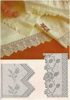 Crochet Edging And Borders Beautiful filet crochet lace edging with roses design and interlaced diamonds on inner straight border Filet Crochet, Crochet Lace Edging, Crochet Borders, Crochet Diagram, Crochet Stitches Patterns, Crochet Chart, Crochet Trim, Crochet Designs, Crochet Doilies