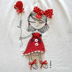 little girl embroidery and applique Embroidery Applique, Cross Stitch Embroidery, Embroidery Patterns, Machine Embroidery, Fabric Art, Fabric Crafts, Sewing Crafts, Sewing Projects, Crazy Quilting