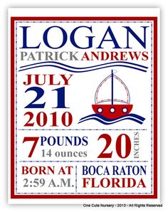 Nautical Birth Announcement  Baby Boy  Red by OneCuteNurseryCo, $15.00