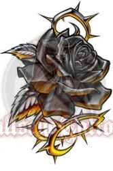 Black Steel Rose with Thorns Tattoo at BullseyeTattoos.com