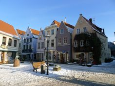 Schnoor Viertel im Winter, Bremen Germany