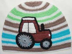 traktor 2 Childrens Crochet Hats, Crochet Hats For Boys, Crochet Baby Hats, Knitting For Kids, Knit Crochet, Knitted Owl, Crocheted Hats, Baby Patterns, Crochet Patterns