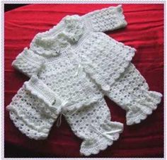 Вязание ажурный костюм для новорожденных