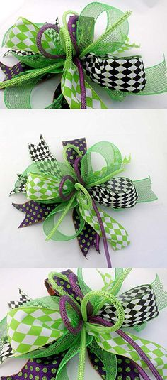 Whimsical Halloween harlequin bow for wreaths, mantle bow, lantern bows, holiday bows, ribbons, wedding bows, holiday decor, green purple