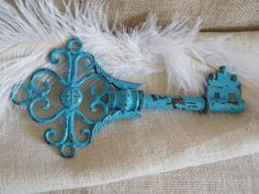 Metal Skeleton Key - Turquoise Blue Distressed and Rustic Key Wall Art-Chippy-Shabby Cottage Decor.