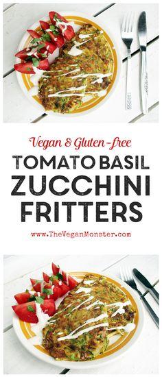 Tomato Basil Zucchini Fritters, vegan and gluten-free :)