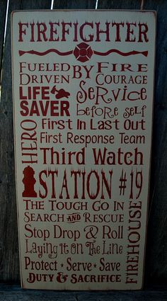 Firefighter primitve wood sign typography subway custom by PrimitiveHodgePodge