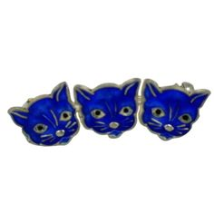 Art deco Danish sterling and enamel cat brooch in vibrant blue from the 1930's