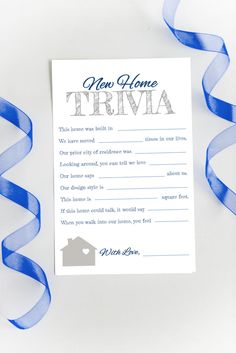 New Home Trivia Game Housewarming Party Game College Party Games, Graduation Party Games, Diy Party Crafts, Craft Party, Housewarming Party Themes, Princess Party Games, Engagement Party Games, Baby Shower Fun, House Party