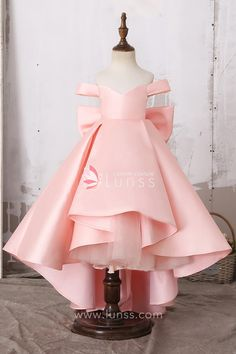 Lovely Off Shoulder Baby Pink Princess High Low Satin Flower Girl Dress with Big Bowknot - Lunss Couture Little Girl Gowns, Gowns For Girls, Little Girl Dresses, Girls Dresses, Flower Girl Dresses, Pink Dresses For Kids, Flower Girls, Pink Princess Dress, Baby Girl Princess