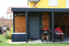 Design Metall Carport aus Holz Stahl Glas mit Geräteraum Stahlzart Leipzig Deutschland