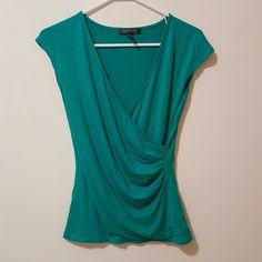 Ralph Lauren Green Short Sleeve Drape Blouse Perfect condition. Soft material Ralph Lauren Tops Blouses