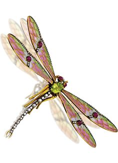 GEM-SET, ENAMEL AND DIAMOND 'DRAGONFLY' BROOCH Realistically designed as a dragonfly, the wings set en tremblant with pliqué-a-jour enamel, edged with circular-cut diamonds highlighted by cabochon rubies