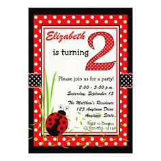Cute Ladybugs 2nd Birthday Custom Announcement