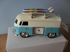 Miniature clock - VW - with surf boards - ready for the beach!