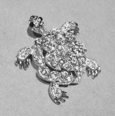 Turtle Pin Crystal Silverplated by JewelryLoveCharm on Etsy