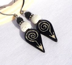 ceramic tribal ethnic earrings handcrafted by BohoChicStreet