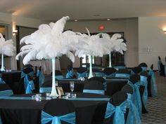 Black and Teal Wedding Reception