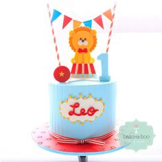 Baby Blue Circus Lion Cake (Leo)