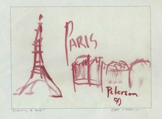 Dreaming of Paris France RED = Signed ART PRINT Cathy Peterson = LISTED ARTIST #MODERNIMPRESSIONISTEXPRESSIONISM