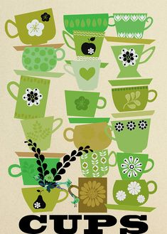 cups, green - art print