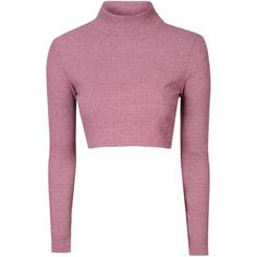 Pink High Neck Cropped Jumper ($26) ❤ liked on Polyvore featuring tops, sweaters, shirts, crop tops, pink, pink shirt, crop top, white long sleeve sweater, white jumper and long-sleeve shirt