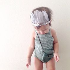 knit bathing suit and feather crown Feather Crown, Misha And Puff, Baby Knitting, Bathing Suits, Kids, Clothes, Baby Knits, Angels, Fashion