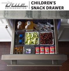 Morning, noon, and night made easier with TRUE Refrigerator Drawers. Organize children's snacks within their own space. Rockwell Catering and Events Kitchen Pantry, New Kitchen, Kitchen Dining, Kitchen Decor, Updated Kitchen, Custom Homes, Home Remodeling, Home Kitchens, Kitchen Remodel
