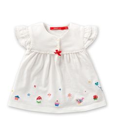 White Embroidered Thara Blouse - Infant, Toddler & Girls
